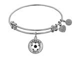 "Non-antique White Stipple Finish Brass With Enamel ""soccer Mom"" Angelica Expandable Bangle"