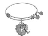 "Non-antique White Stipple Finish Brass ""key To My Heart"" Angelica Expandable Bangle style: WGEL1216"