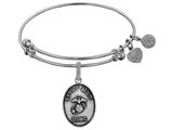 Angelica Collection Brass with White Finish Proud Mom U.S. Marine Corps Oval Expandable Bangle style: WGEL1279