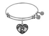 Angelica Collection Brass with White Finish Proud Wife U.S. Marine Corps Heart Shaped Expandable Bangle style: WGEL1280