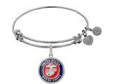 Brass with White Finish Enamel U.S. Marine Corps Round Angelica Expandable Bangle style: WGEL1281