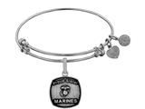 Angelica Collection Brass with White Finish Proud Sister U.S. Marines Expandable Bangle style: WGEL1284