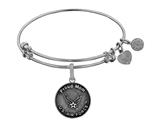 Brass with White Finish Proud Mom U.S. Air Force Round Angelica Expandable Bangle style: WGEL1290