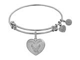 Brass with White Finish Proud Wife U.S. Air Force Heart Shaped Angelica Expandable Bangle style: WGEL1292
