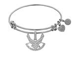 Brass with White Finish U.S. Air Force Symbol Angelica Expandable Bangle style: WGEL1293