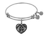 Angelica Collection Brass with White Finish Proud Wife U.S. Navy Heart Shaped Expandable Bangle style: WGEL1311