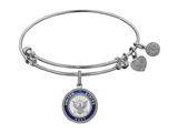 Angelica Collection Brass with White Finish Enamel U.S. Navy Round Expandable Bangle style: WGEL1319