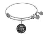Angelica Collection Brass with White Finish Proud Sister U.S. Navy Round Expandable Bangle style: WGEL1321
