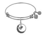 Brass White Finish Love You To Moon and Back Charm On White Angelica Collection Bangle style: WGEL1360