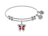 Angelica Collection Brass With White Butterfly Charm With Red+center W Hite CZ On White Bangle style: WGEL1394