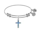 Brass With White Cross Charm With Created Opal On White Angelica Collection Bangle style: WGEL1403