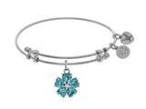 Angelica Collection Brass With White 5-heart Flower Charm With Lite Blue+small White CZ On White Bangle style: WGEL1432