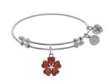Angelica Collection Brass With White 5-heart Flower Charm With Red Small Center White CZ On White Bangle style: WGEL1433