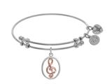 Angelica Collection Brass With Pink+white Musical Note Charm On White Bangle style: WGEL1450