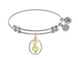 Angelica Collection Brass With Yellow+white Musical Note Charm On Whit E Bangle style: WGEL1451