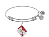 Brass With White Red+white Enamel Love Letter With Heart+arrow Charm On White Bangle style: WGEL1462