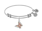 Brass With Pink+white Finish Butterfly Charm On White Angelica Collection Bangle style: WGEL1486