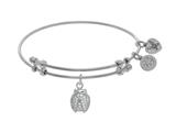 Brass With White Finish Charm With White CZ Ladybu G On White Angelica Collection Bangle style: WGEL1524