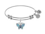 Brass With White Finish Charm With Created Opal Butterfly On White Angelica Collection Bangle style: WGEL1526