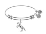 Brass With White Finish Horse Charm On White Angelica Collection Bangle style: WGEL1567