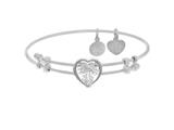 Brass With White Finish Heart Charm With White CZ On White Angelica Collection Bangle style: WGEL1570