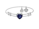 Brass With White Finish Heart Charm With Dark Blue CZ On White Angelica Collection Bangle style: WGEL1573