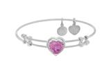 Brass With White Finish Heart Charm With Red Cz On White Angelica Collection Bangle style: WGEL1575