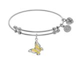 Brass With Yellow+white Butterfly Charm On White Angelica Collection Bangle style: WGEL1585