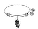 Brass With White Owl Enamel Charm On WhiteAngelica Bangle style: WGEL1708