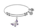 Angelica Collection Brass With White Butterfly Charm With White To Pink Fading Enamel On White Bangle style: WGEL1765