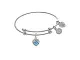 Angelica Collection Brass With White Finish Charm March Heart Shape CZ Birth Month style: WTGEL9015