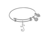 Brass With White Finish Charm Initial J On White A Ngelica Tween Bangle style: WTGEL9059