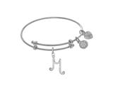 Brass With White Finish Charm Initial M On White A Ngelica Tween Bangle style: WTGEL9062