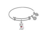 Brass With White Cat Charm On White Angelica Collection Tween Bangle style: WTGEL9091