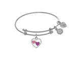 Angelica Collection White Finish Expandable Tween Brass Bangle With Re D and White Enamel Heart With White Cubic Zirconi style: WTGEL9110