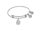 Brass With White Finish Lady Bug With CZ Charm On White Angelica Collection Tween Bangle style: WTGEL9112