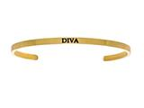"Intuition Stainless Steel Yellow Finish ""diva""Cuff Bangle style: YINT5043"