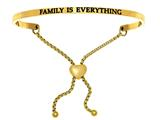 "Intuition Stainless Steel Yellow Finish ""family Is Everything""adjustable Friendship Bracelet style: YINT7010"