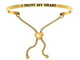 "Intuition Stainless Steel Yellow Finish ""i Trust My Heart""adjustable Friendship Bracelet style: YINT7019"