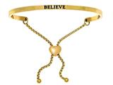 "Intuition Stainless Steel Yellow Finish ""believe""adjustable Friendship Bracelet style: YINT7054"