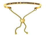 "Intuition Stainless Steel Yellow Finish ""god Moves In Mysterious Ways""adjustable Friendship Bracelet style: YINT7060"