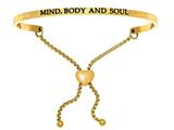 "Intuition Stainless Steel Yellow Finish ""mind, Body And Soul""adjustable Friendship Bracelet style: YINT7067"