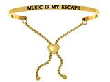 "Intuition Stainless Steel Yellow Finish ""music Is My Escape""adjustable Friendship Bracelet style: YINT7068"