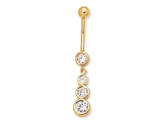 4 CZ Round Belly Ring