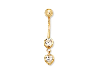 CZ Heart Belly Ring