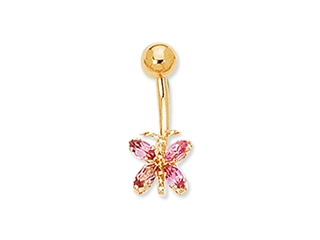 Pink Tourmaline Butterfly Belly Ring
