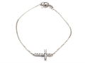 Silver CZ Cross Bracelet