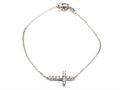 Silver CZ Cross Bracelet
