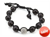 Adjustable Rhinestone Ball Wood Bracelet style: SB109