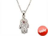 Silver CZ Eye Hamsa Necklace style: SB117
